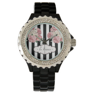 Roses with Black and White Stripes Watch