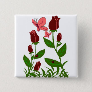 Roses with butterflies button