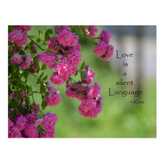 Roses with Love Quote Postcard