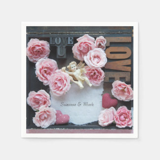 Roses with love words and angel paper napkins