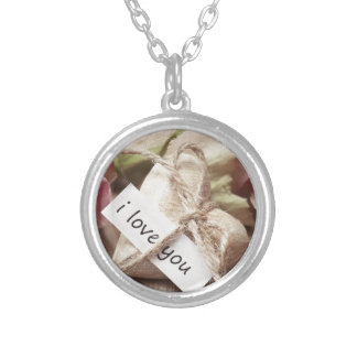Roses Wooden Heart Heart Heart Shaped Love Mother Silver Plated Necklace