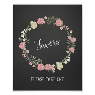 Roses Wreath Wedding Favors Sign Poster Print