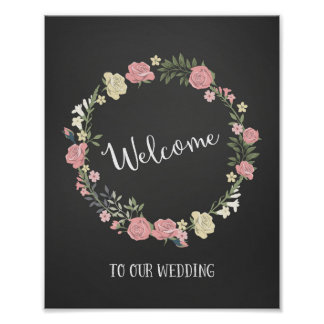 Roses Wreath Wedding Welcome Sign Poster Print