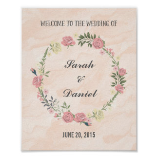 Roses Wreath Welcome Poster Print