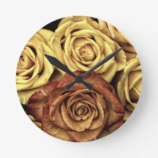 Roses yellow and red round clock