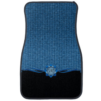 Rosette and Weave Blue Car Mat