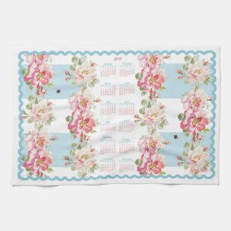 Rosewitha aqua stripe 2018 calendar kitchen towel