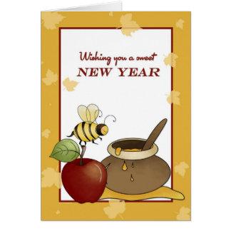 Rosh Hashanah Apple, Bee and Honey Card