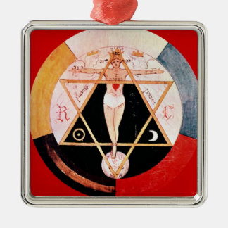 Rosicrucian symbol of the Hermetic Order Silver-Colored Square Ornament