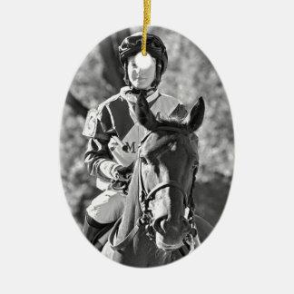 Rosie Napravnik on Delaunay  The Vanderbilt stakes Ceramic Ornament