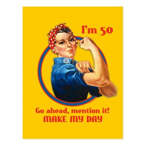 Rosie Riveter 50th Birthday Postcard