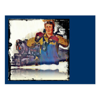 Rosie Riveter Works on the Rail Road WWII Postcards