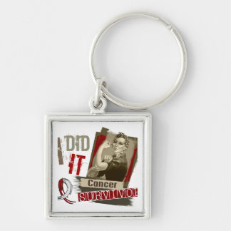 Rosie Sepia I Did It Head Neck Cancer.png Silver-Colored Square Keychain