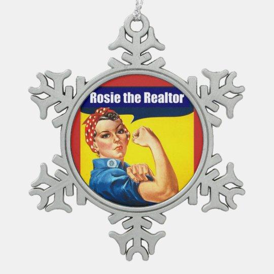 Rosie the Realtor Snowflake Pewter Christmas Ornament