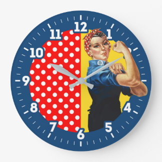 Rosie The Riveter Americana graphic design on a Large Clock