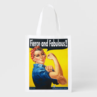 Rosie The Riveter Fierce and Fabulous Reusable Grocery Bag