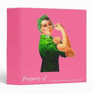 Rosie The Riveter - Green Military 3 Ring Binder