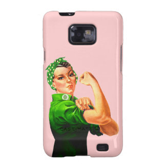 Rosie The Riveter - Green Military Samsung Galaxy S2 Covers