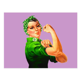 Rosie The Riveter - Green Military Postcard