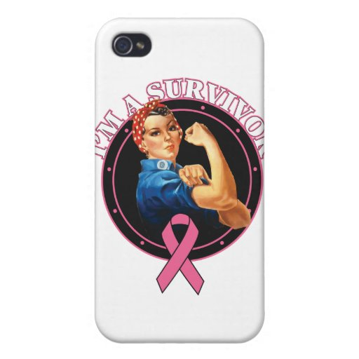Rosie The Riveter I'm A Survivor Breast Cancer Cases For iPhone 4