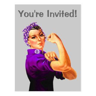 Rosie The Riveter - Purple Fibromyalgia Postcard