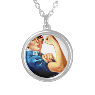 Rosie The Riveter Silver Plated Necklace