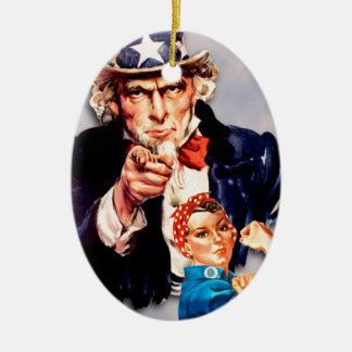 Rosie the Riveter & Uncle Sam design Ceramic Ornament