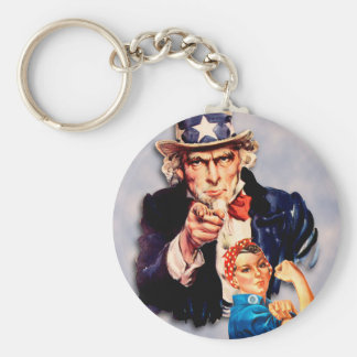 Rosie the Riveter & Uncle Sam design Keychain