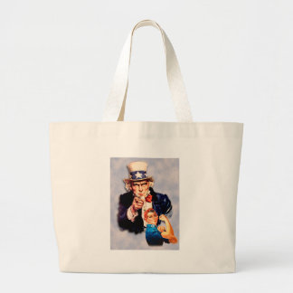 Rosie the Riveter & Uncle Sam design Large Tote Bag