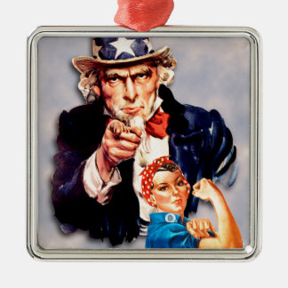 Rosie the Riveter & Uncle Sam design Metal Ornament