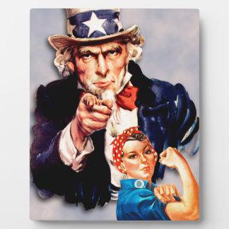 Rosie the Riveter & Uncle Sam design Plaque