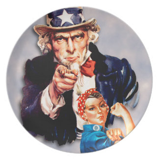 Rosie the Riveter & Uncle Sam design Plate