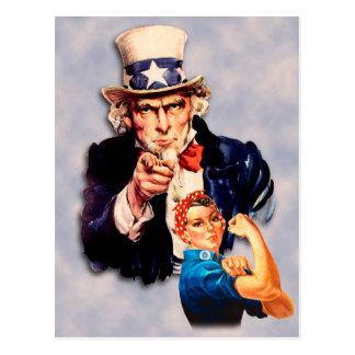 Rosie the Riveter & Uncle Sam design Postcard