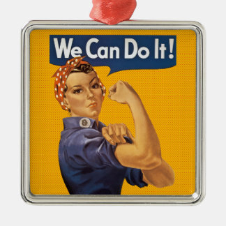 Rosie the Riveter We Can Do It! Red Polka Dots Silver-Colored Square Ornament