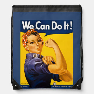 Rosie the Riveter We Can Do It! Retro Vintage Icon Drawstring Bag