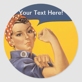 Rosie the Riveter We Can Do It! Your Text Here Classic Round Sticker