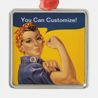 Rosie the Riveter We Can Do It! Your Text Here Silver-Colored Square Ornament