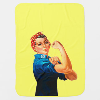 Rosie The Riveter WWII Poster Baby Blankets