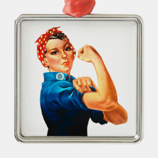 Rosie The Riveter WWII Poster Metal Ornament