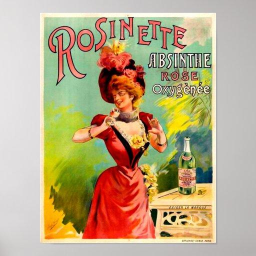 Rosinette Absinthe Rose Oxygénée Poster