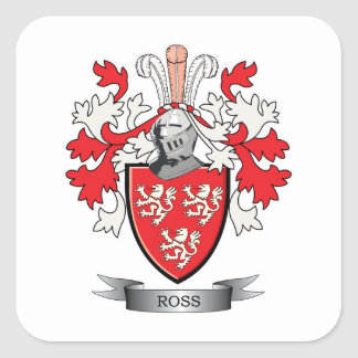 Ross Family Crest Coat of Arms Square Sticker