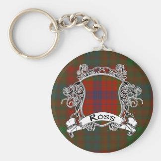 Ross Tartan Shield Basic Round Button Keychain