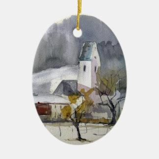 Roßholzen in Winter.jpg Ceramic Oval Ornament