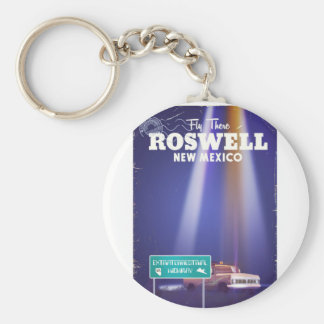 Roswell Extraterrestrial Highway travel poster Basic Round Button Keychain