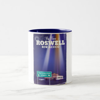 Roswell Extraterrestrial Highway travel poster Two-Tone Coffee Mug