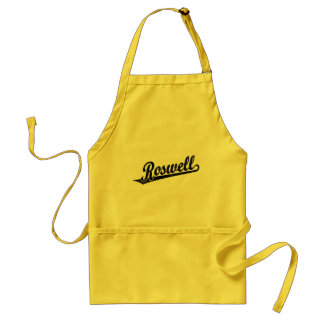 Roswell script logo in black distressed standard apron