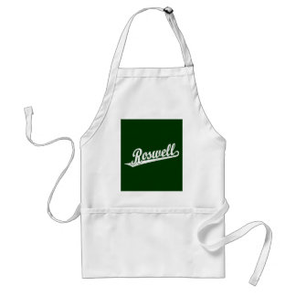 Roswell script logo in white distressed standard apron