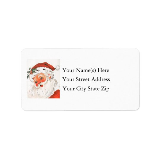 Rosy Cheeked Santa Vintage Address Label