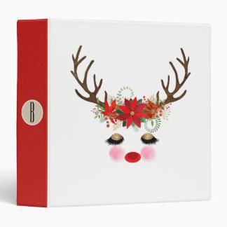 Rosy Cheeks Gold Eyes Floral Reindeer Holiday Binder