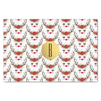 Rosy Cheeks Gold Eyes Floral Reindeer Holiday Tissue Paper